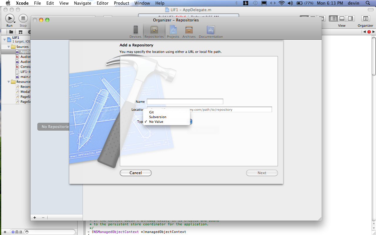 Image of XCode 4 Lacking CVS Option