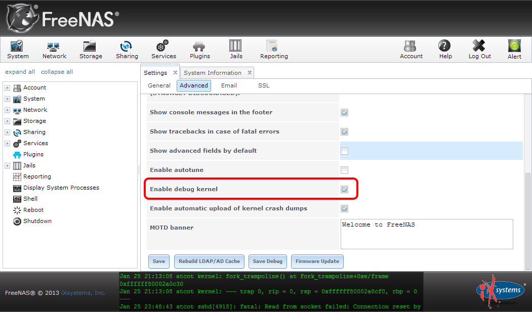 """Enabling the FreeNAS Debug Kernel from the WebUI"""