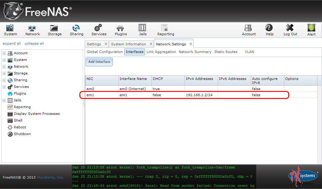 """Configuring a local second network interface in the FreeNAS WebUI"""