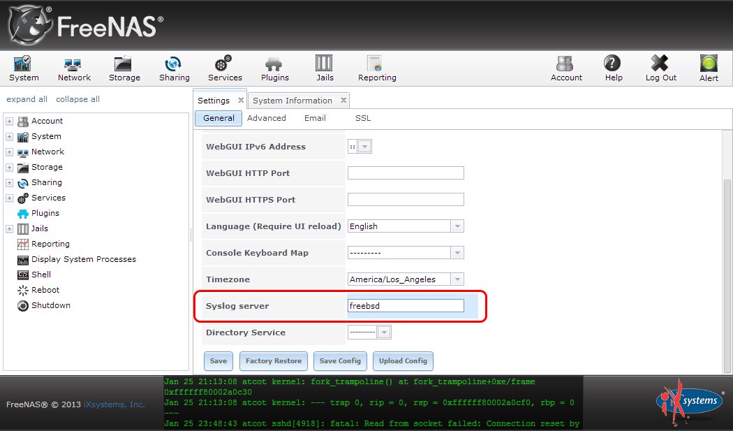 """Where to configure a remote syslog server fro within the FreeNAS WebUI"""