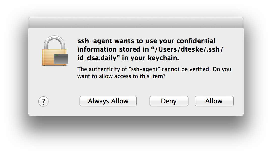 Granting patched ssh-agent(1) access to Keychain for the first time.